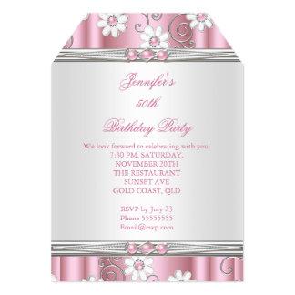 Fiesta de cumpleaños rosada de las flores de Pearl Invitación 12,7 X 17,8 Cm