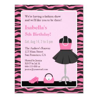 Fiesta de cumpleaños rosada de los chicas del invitación 10,8 x 13,9 cm