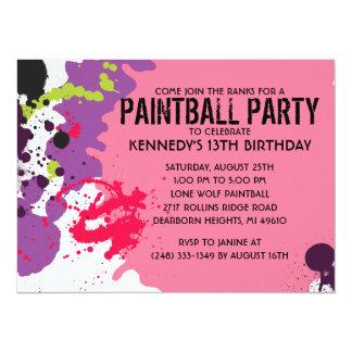 Fiesta de cumpleaños rosada de Paintball de la Invitación 13,9 X 19,0 Cm