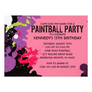Fiesta de cumpleaños rosada de Paintball de la sal Invitaciones Personalizada