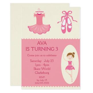 Fiesta de cumpleaños rosada del bailarín de ballet invitación 12,7 x 17,8 cm