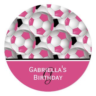 Fiesta de cumpleaños rosada del modelo del balón invitación 13,3 cm x 13,3cm