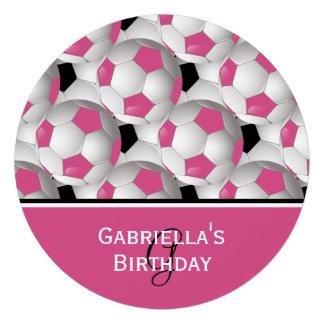 Fiesta de cumpleaños rosada del modelo del balón invitaciones personalizada