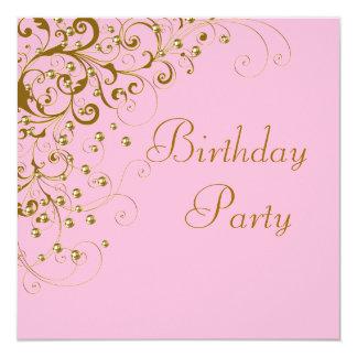 Fiesta de cumpleaños rosada del oro de la mujer invitación 13,3 cm x 13,3cm