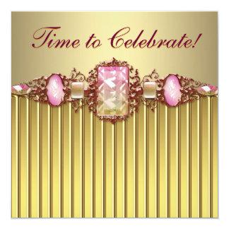 Fiesta de cumpleaños rosada del oro de las joyas invitación 13,3 cm x 13,3cm