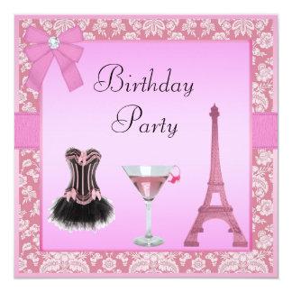 Fiesta de cumpleaños rosada elegante del corsé del invitación 13,3 cm x 13,3cm