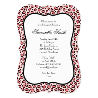 Fiesta de cumpleaños rosada elegante del estampado invitación 12,7 x 17,8 cm
