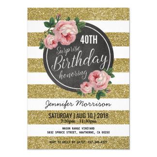 Fiesta de cumpleaños rosada floral de la sorpresa invitación 11,4 x 15,8 cm