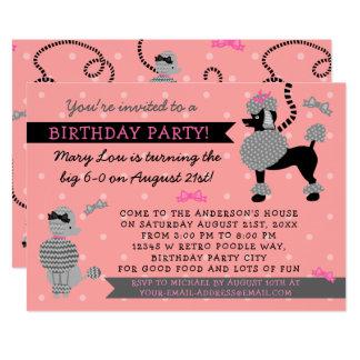Fiesta de cumpleaños rosada retra del negro 50s de invitación 12,7 x 17,8 cm