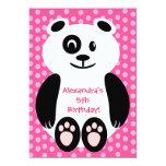 Fiesta de cumpleaños rosada y púrpura de la panda invitacion personalizada