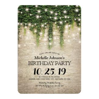 Fiesta de cumpleaños rústica del viñedo de la invitación 12,7 x 17,8 cm