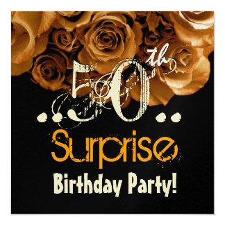 Fiesta de cumpleaños subió oro de la sorpresa del invitación 13,3 cm x 13,3cm