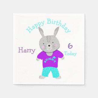 Fiesta de cumpleaños temática linda del conejo de servilleta de papel