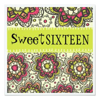 Fiesta de cumpleaños totalmente retra del dulce 16 invitación 13,3 cm x 13,3cm