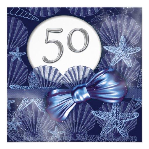 fiesta de cumpleaños tropical de la 50.a playa anuncio personalizado