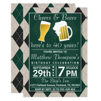 Fiesta de cumpleaños verde de moda de las alegrías invitación 12,7 x 17,8 cm