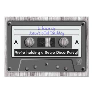 Fiesta de disco retro de la cinta de casete de invitación 12,7 x 17,8 cm