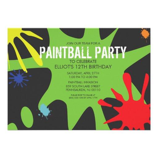 Fiesta de encargo partido de Splat Paintball del v Invitacion Personalizada