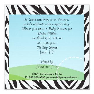 Fiesta de fiesta de bienvenida al bebé de la cebra invitación 13,3 cm x 13,3cm