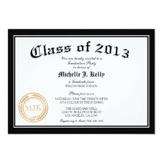 Fiesta de graduación 2013 del diploma invitación 12,7 x 17,8 cm
