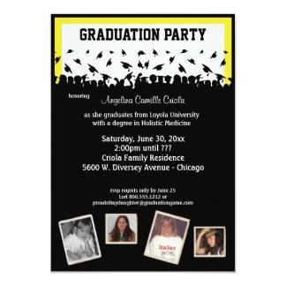 Fiesta de graduación amarilla y negra de la invitación 12,7 x 17,8 cm
