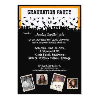 Fiesta de graduación anaranjada y negra de la invitación 12,7 x 17,8 cm