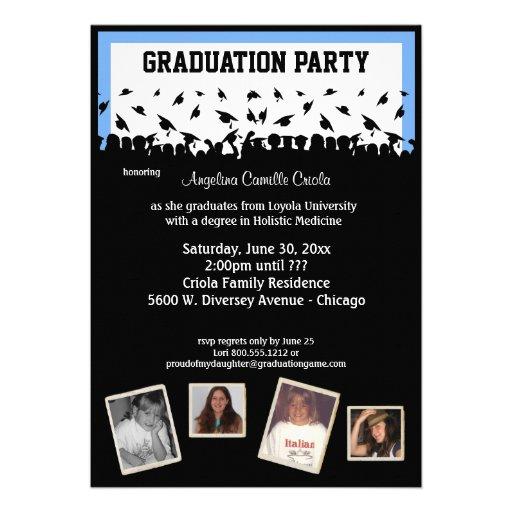 Fiesta de graduación azul y negra de la silueta invitaciones personales