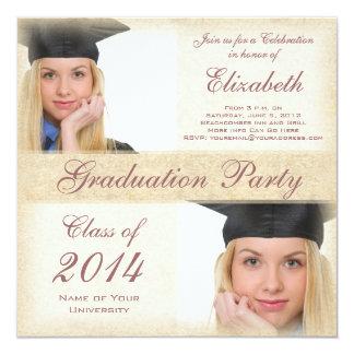 Fiesta de graduación bonita de la universidad de invitación 13,3 cm x 13,3cm