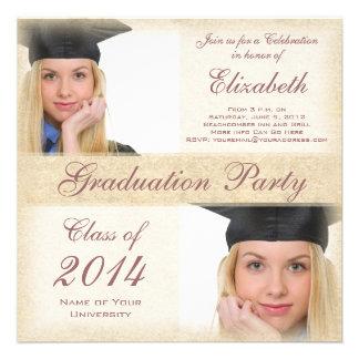 Fiesta de graduación bonita de la universidad de l invitación