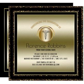 Fiesta de graduación de la enfermera del oro el | invitación 13,3 cm x 13,3cm