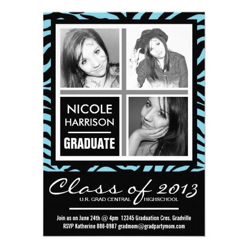 Fiesta de graduación de la foto de la cebra 3 del  comunicados personalizados