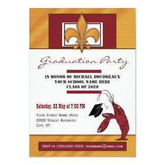 Fiesta de graduación de los cangrejos del país invitación 12,7 x 17,8 cm