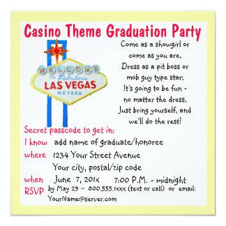 Fiesta de graduación del estilo de Vegas del tema Invitación 13,3 Cm X 13,3cm