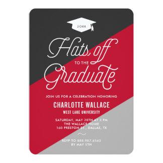Fiesta de graduación diagonal roja y gris de la invitación 12,7 x 17,8 cm