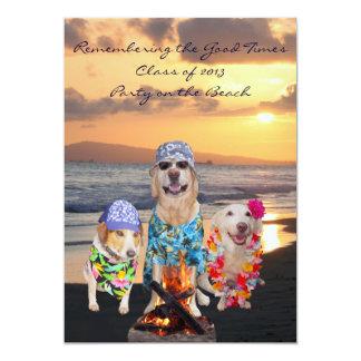 Fiesta de graduación divertida del perro en la invitación 12,7 x 17,8 cm