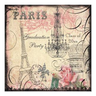 Fiesta de graduación elegante de la torre Eiffel y Invitación 13,3 Cm X 13,3cm