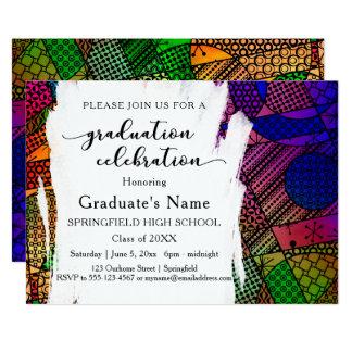 Fiesta de graduación geométrica colorida única del invitación 12,7 x 17,8 cm