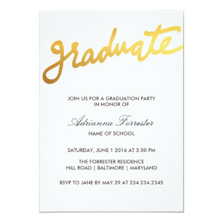 Fiesta de graduación graduada moderna de la invitación 12,7 x 17,8 cm