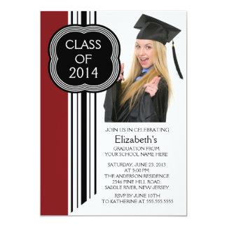 Fiesta de graduación negra marrón moderna de la invitación 12,7 x 17,8 cm