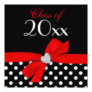 Fiesta de graduación negra roja del corazón del invitación 13,3 cm x 13,3cm