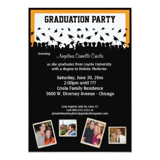 Fiesta de graduación negra y anaranjada de la invitación 12,7 x 17,8 cm