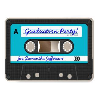 Fiesta de graduación retra de la cinta de casete invitación 11,4 x 15,8 cm