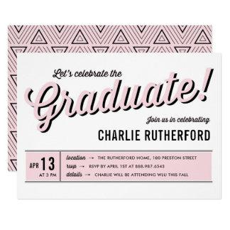 Fiesta de graduación retra de la tipografía del invitación 12,7 x 17,8 cm