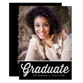 Fiesta de graduación retra negra de la foto de la invitación 12,7 x 17,8 cm
