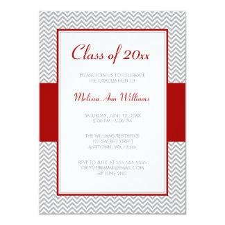 Fiesta de graduación roja y gris de Chevron Invitación 11,4 X 15,8 Cm
