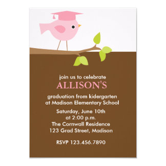Fiesta de graduación rosada de los chicas del invitación 12,7 x 17,8 cm