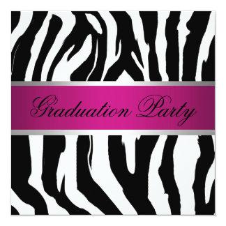 Fiesta de graduación rosada y negra de la cebra invitación 13,3 cm x 13,3cm