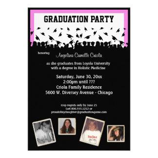 Fiesta de graduación rosada y negra de la silueta invitaciones personalizada