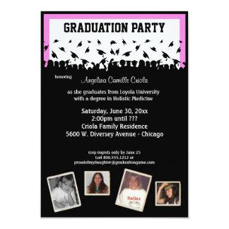 Fiesta de graduación rosada y negra de la silueta invitación 12,7 x 17,8 cm