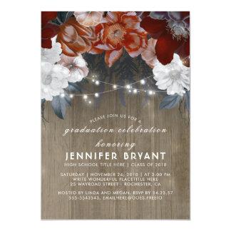 Fiesta de graduación rústica de las luces florales invitación 12,7 x 17,8 cm